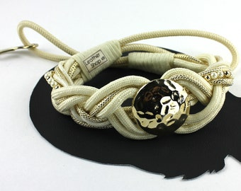 """Cream & Gold Metalic Braided Rope with Faux Pearls Vintage Belt - size 27"""""""