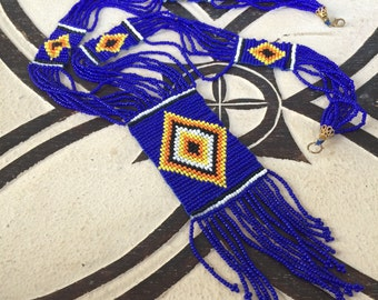 Awesome tribal seed bead long necklace