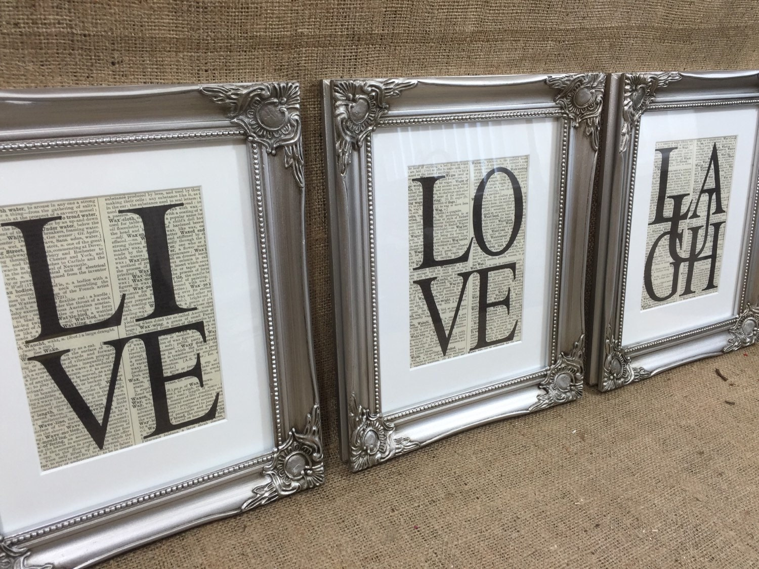 LIVE LAUGH LOVE Dictionary Prints / Set of 3 Framed Word Art Prints ...
