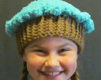 Crochet Cupcake Hat ~ Size Medium ~ Turquoise top with medium brown bottom