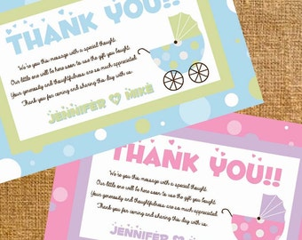 Customized Carriage Baby Shower Thank You - Digital File