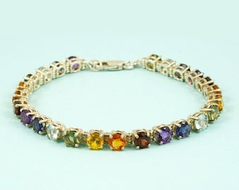 Faceted 14kt gold 7 inch Chakra Bracelet 5 mm stones Amethyst, Iolite, Aquamarine, Moldavite, Citrine, Padpardasha Sapphire, Red Garnet dn