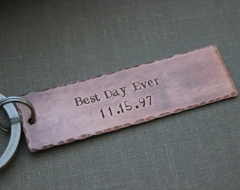 Best Day Ever including date, Copper Hand Stamped Keychain, Long Rectangle gift idea for him,  Antiqued rustic style, Wedding Day Gift Groom