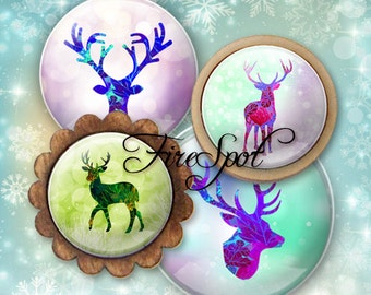 Watercolor deer Elk Animal - Digital Collage Sheet 20mm, 18mm, 16mm, 14mm, 12mm circle.Glass Pendant.Bottlecaps Scrapbooking