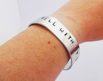 Hand stamped wide cuff bracelet aluminium, It is well with my soul,motivational statement bracelet,stackable bracelet,customisable cuff