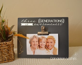 Three Generations of Awesomeness Picture Frame; Custom Photo Frame, Christmas Gift For Mom, Gift For Dad, Gift For Grandma, Generation Frame