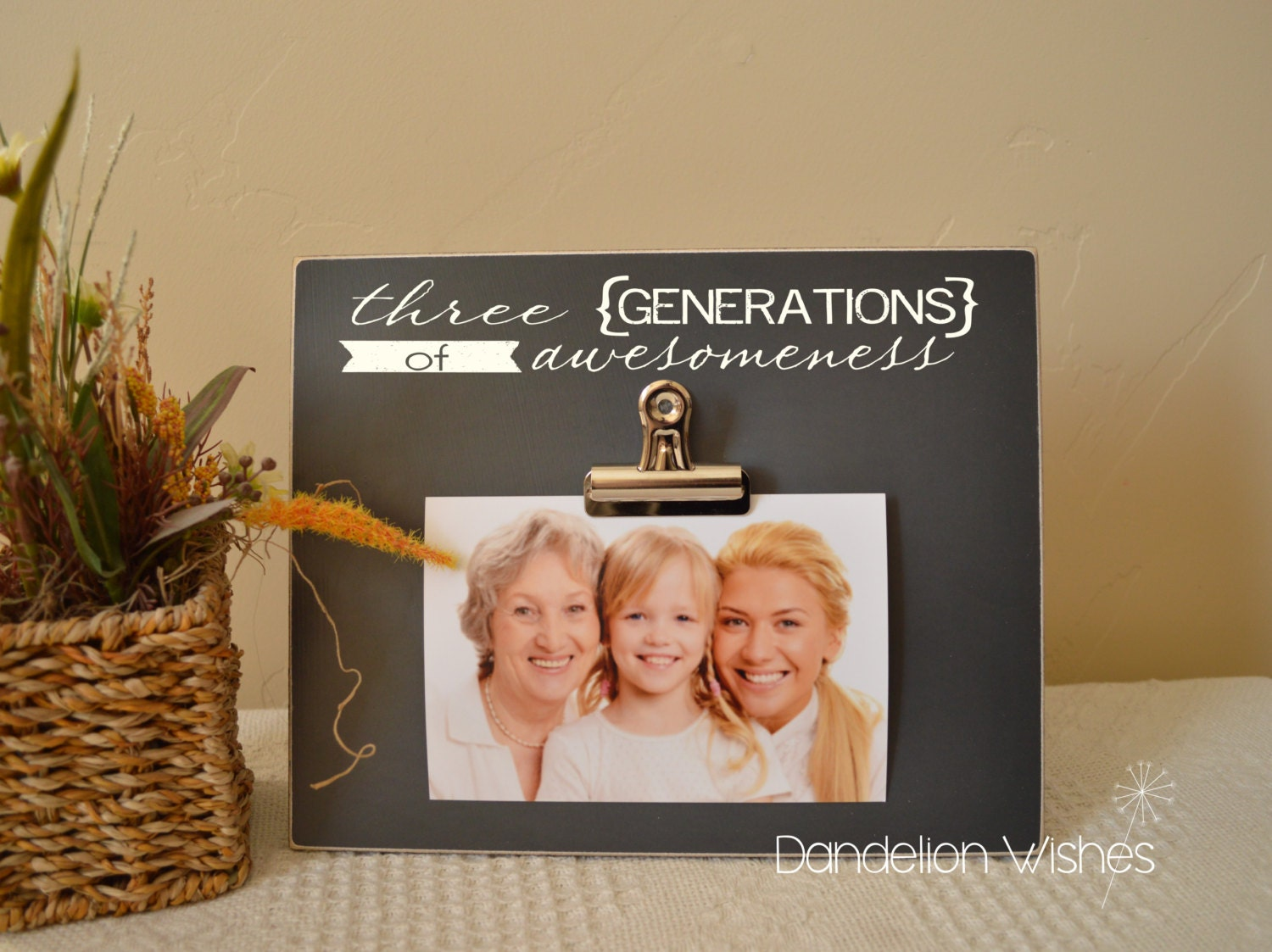 Three Generations of Awesomeness Picture Frame Custom Photo