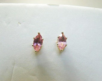 14 Kt Gold And Pink CZ Pierced Earrings / Diamond Cut CZ With Yellow Gold Settings