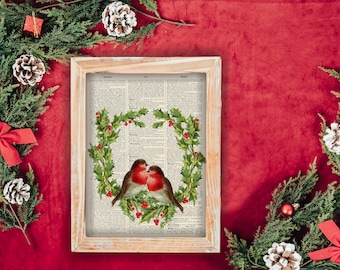 Vintage Two Winter Robins and Holly - vintage image printed on a page from a late 1800s Upcycled Dictionary