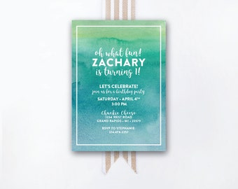 INSTANT DOWNLOAD birthday invitation / watercolor invite / blue ombre invite / blue ombre birthday / DIY invite