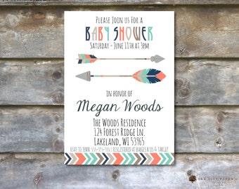 Tribal Baby Shower Invitation, Aztec Baby Shower Invitation, Tribal Invitation, Tribal Baby Shower Invites, Arrow, Native American, DIY