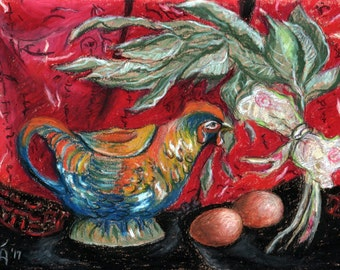 """Original Oil Pastel Painting, 8"""" x 11"""", Small size art, Still Life, Impressionist Art, Wall Decor, Year of the Rooster, Chinese new Year"""