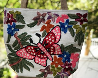 """15""""L x 12""""H x 4""""W Pink Butterfly Bohemian Crewel Embroidery on Cotton Canvas Tote/Shoulder Bag by Kashmirvalley"""