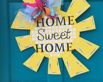 Sunshine Wooden Door Hanger // Painted Wooden Sign // Home Sweet Home