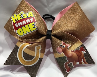 "He's a smart one - Bullseye-Toy Story ""TEXAS/CHEER"" LARGE Size Glitter Bow"