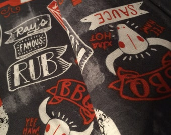 Food Fabric Grill Master -Rays Famous Rub -Tex Mex NC BBQ- Memphis Barbecue Wings Sauce- Dad Gift Apron  -100% High Quality Cotton 1/4 yd or