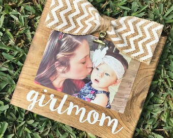 Girlmom Family Burlap Rustic/ Stained Picture Frame