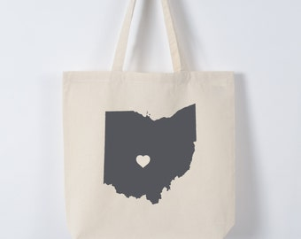 OHIO LOVE TOTE Columbus gray state silhouette on natural bag