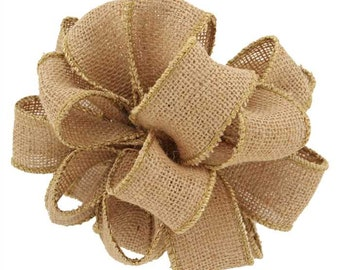 "2.5"" Natural Burlap Wired Ribbon Light Brown Rustic Wreath Bow Decor 25YARD ROLL"