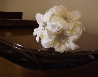 Starburst snowflake crystal brooch bouquet, cream/white hydrangea, roses and real touch Casablanca lilies