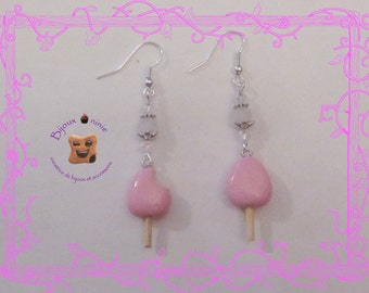 Fimo pink Eskimo ice earrings