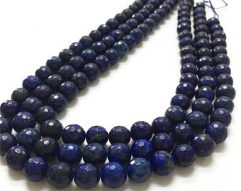 10mm Faceted Lapis Lazuli Beads, Gemstone Beads, Wholesale Beads