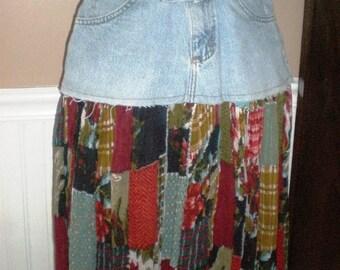Repurposed Jeans Skirt