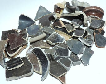 Dark POTTERY CERAMICS SHARDS Genuine beach found surf tumbled / Lot of  50 pieces / R63
