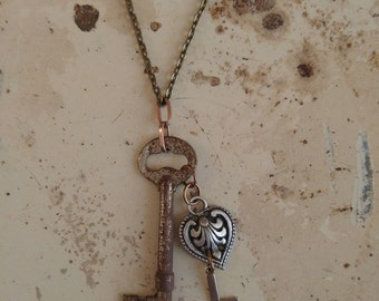 Key necklace, vintage skeleton key necklace with L initial and heart charm, USA made, repurpose materials, gypsy boho style, key pendant