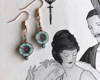 Free US shipping--Mint and rose gold pansies, picasso Czech glass