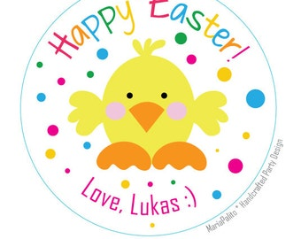 Happy Easter PRINTED Stickers, Happy Easter Round Stickers, Personalized Envelope Seals A576