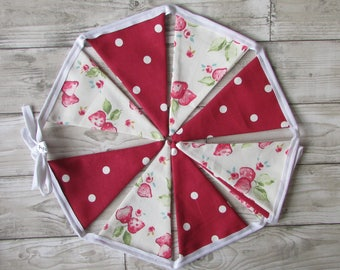 Strawberry Chintz & Red Dotty Fabric Bunting, Party, Wedding, Fabric, Personalised ,Home Decor, Handmade,Home, Home and Garden, Free Postage