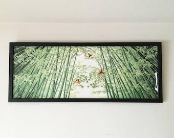 Japanese tenugui fabric frame, black wood horizontal vertical framed tenugui, picture frame art, tenugui hanger, Wall Art Frames Hangings