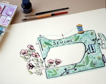 Mothers Day Gift - Sewing Machine Illustration