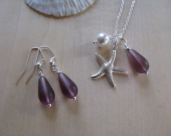 Purple Bridesmaid Necklaces and Earrings in Purple Sea Glass Plum Wedding Jewelry Starfish Necklaces