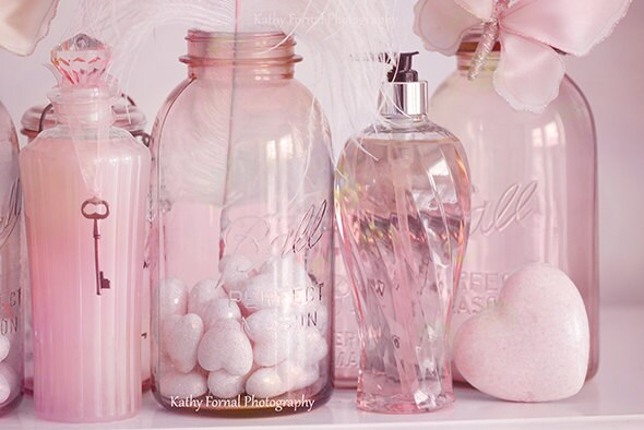 Interior Pink Bathroom Decor shabby chic decor pink bottle art bottles