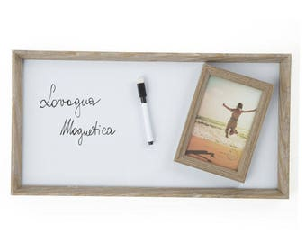 Rectangular magnetic Board with photo frame 24X3X 46.50 cm