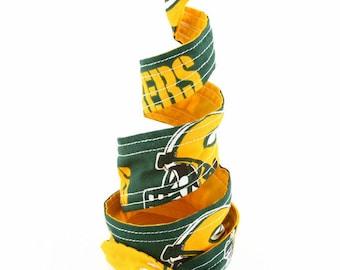 Wired Headband, Twist Tie Headband, Wide Wired Headband, Women's Headband, Team Sports Fabric, Green Bay Packer Wired Twist Tie Headband