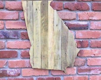 Georgia GA state cutout outline pallet wood