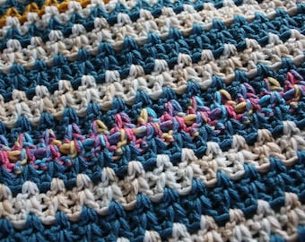 Striped, warm Blankiet, crochet blankiet, baby's blankiet,