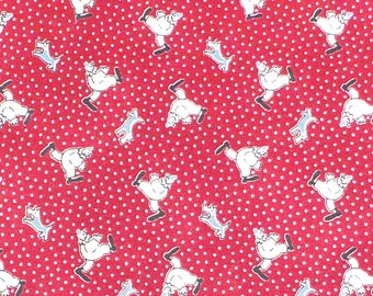 Clown en tissu, petits pois, Chambray, rouge, FQ paquet Poo quilt, Marcus Brothers, tissu Vintage