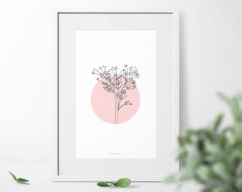Botanic Wall Art, Botanical Wall Print,Home Decor Art , Botanic Poster, Illustration Poster, Bedroom Decor, Minimal Art