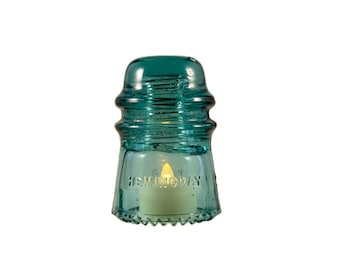 Vintage Teal Insulator Lamp with LED Tea Light // Insulator Night Light / Glass Insulator Outdoor Patio Lighting / Hemingray 16 Insulator