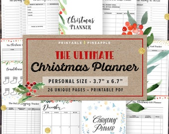 Personal Size Christmas Planner Kit Printable, Filofax Personal Inserts, 2017 Holiday Planner, Gift Planner, Budget, Instant Download