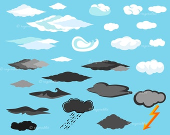 Clouds Vector Illustrations Set, Weather, Flash, Sky, Icons, Rain, Dark Clouds, White Clouds, Commercial Use, Personal Use