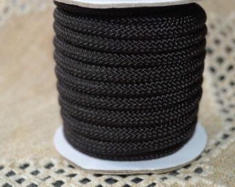 8mm Nylon Cord Black Braided 15 Foot Spool