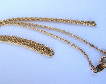 Signed 14K Gold Rope Chain Necklace Vintage