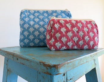 Blue/Pink Chameli Wash Bag Hand Block Printed on Organic Cotton