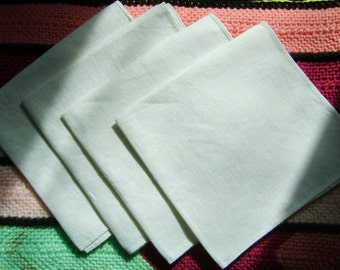 Vintage 4x White Linen Handkerchief - Blank Canvas