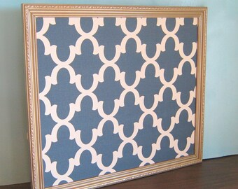 Vintage Antique Gold Bulletin Board, Blue Fretwork Fabric, Modern Pin Board, Moroccan Corkboard